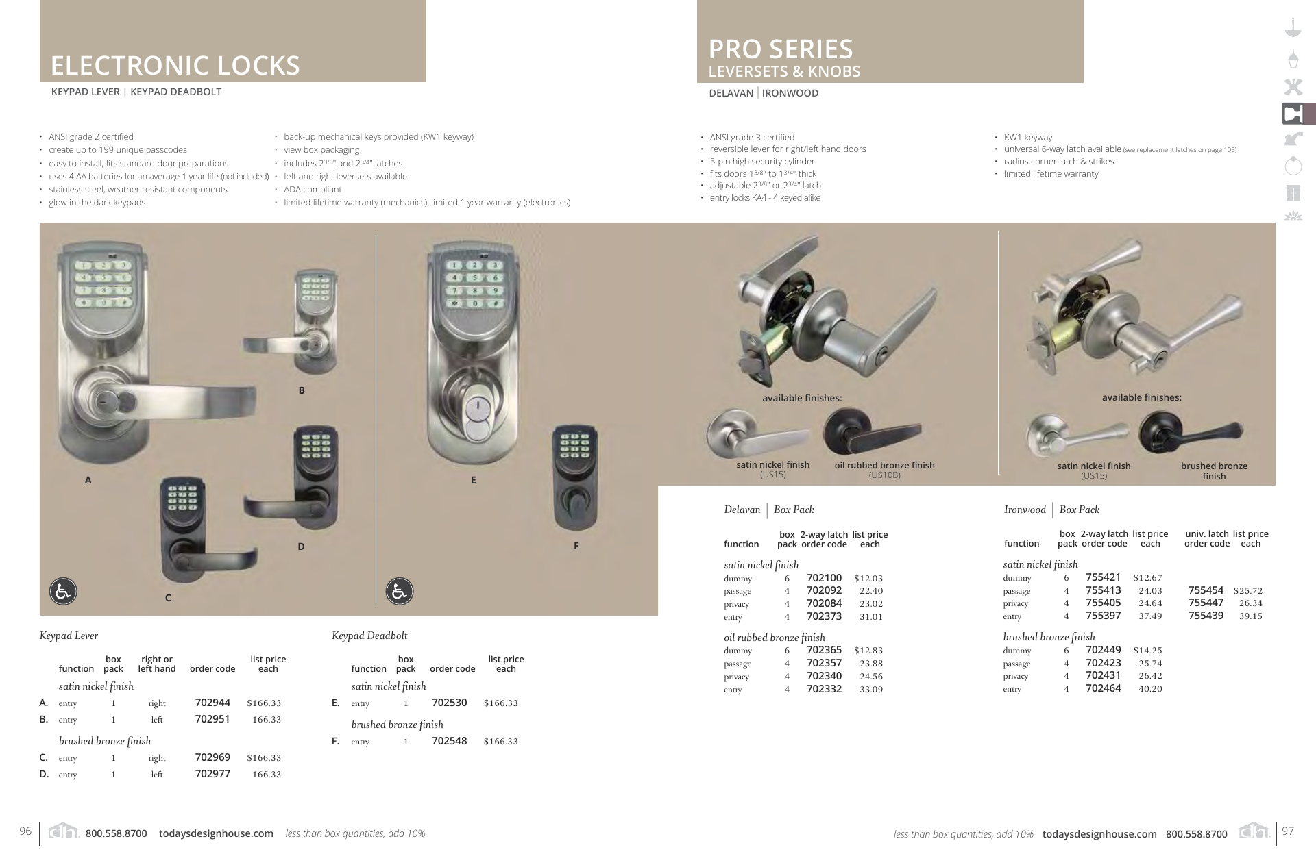 Electronic Locks and Pro Series Leversets & Knobs